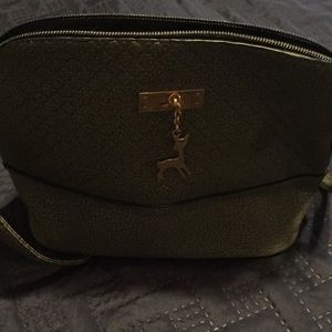 NWOT Gray faux leather crossbody with deer jewel